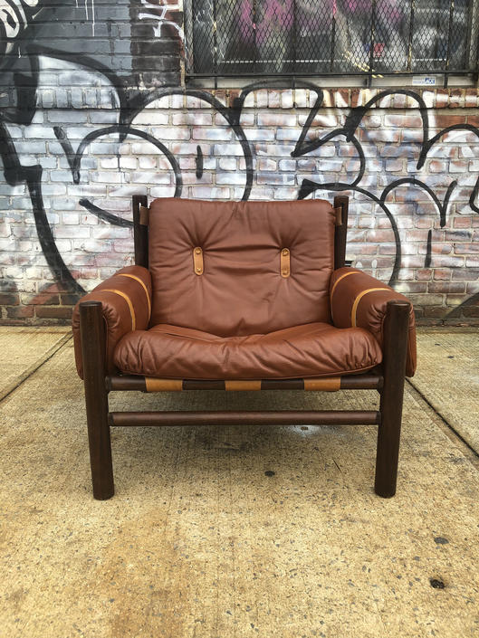 Beautiful Unique Midcentury modern low sling leather safari lounge chair by Bruksbo Norway by symmetryvintage