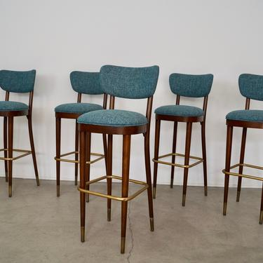 Set of Five Mid-century Modern Bar Stools by Thonet Professionally Refinished & Reupholstered in Knoll Fabric! by CyclicFurniture