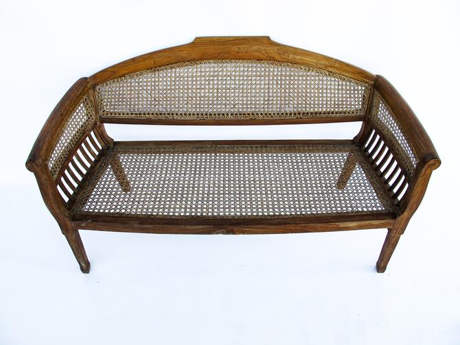 Antique Settee with Solid Wood Frame and Hand Caned Seat and Back by PortlandRevibe