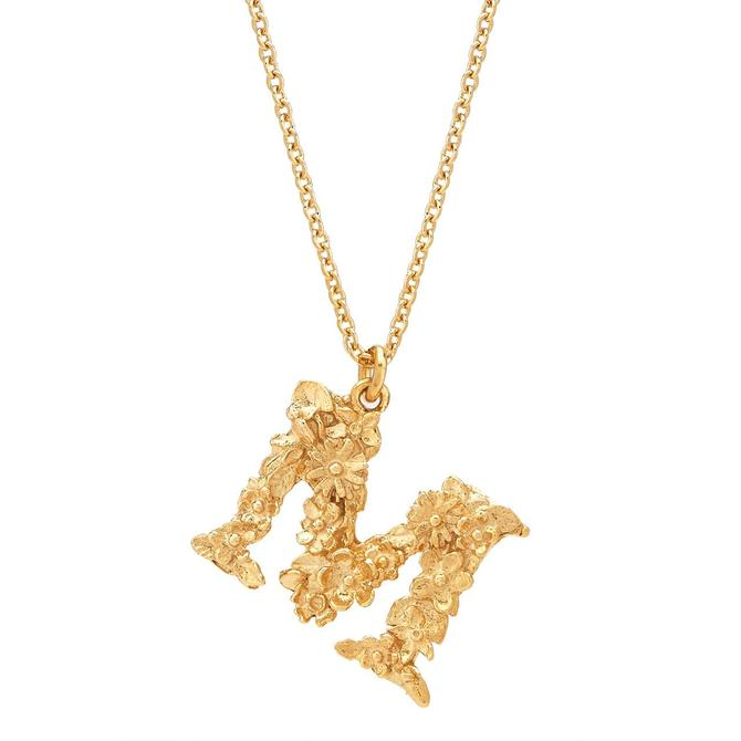 Floral Letter Necklace - 22ct Gold Plate