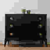 SOLD - Black Bow-Front Dresser