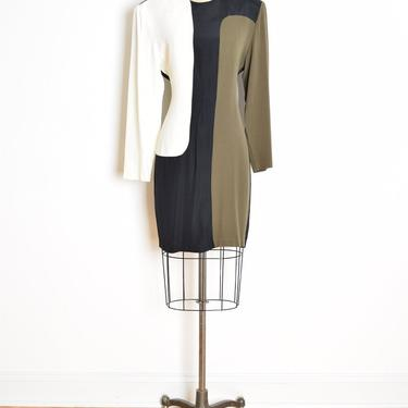 vintage 80s dress black color block mod geometric futuristic mini dress M clothing by huncamuncavintage