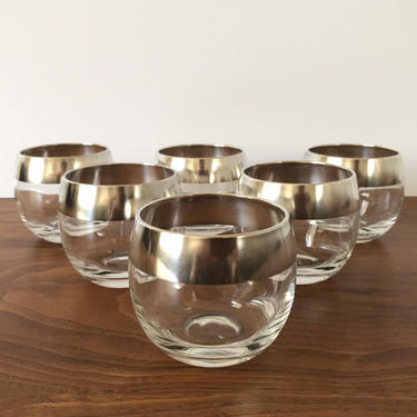 Silver Rimmed Dorothy Thorpe Roly Poly Cocktail Glasses - Set of 6 by TheThriftyScout