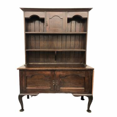 Free Shipping Within Continental US - English Georgian Hutch or Welsh Dresser Buffet Display Cabinet in Two Parts, 18th Century Antique by BigWhaleConsignment