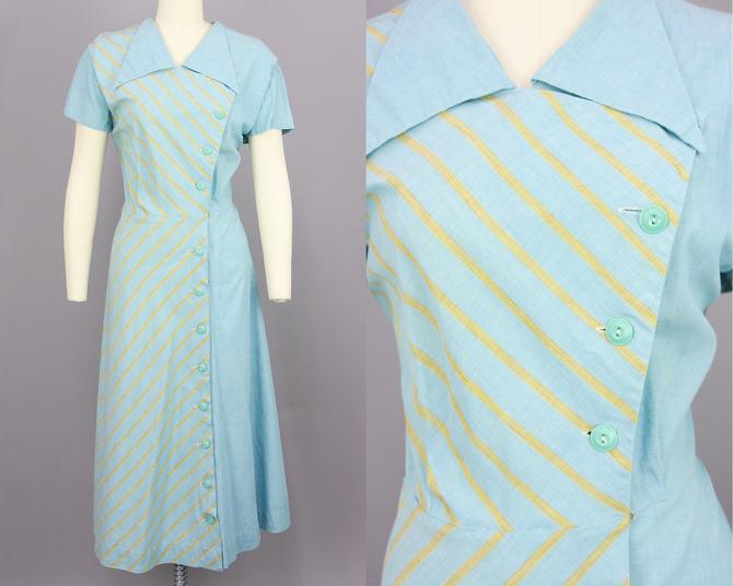 1940s Pattern Block Day Dress | Vintage 40s Cotton Dress with Asymmetrical Closure | large xl by RelicVintageSF