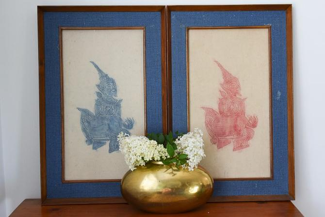 Pair of Mid Century Modern Thai Temple Rubbings (Bangkok, Cambodia, Thai) by CapitolVintageCharm