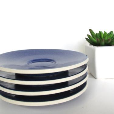 Sasaki Colorstone Saucers  In Sapphire, Set of 4 Massimo Vignelli Blue Colorstone Saucers by HerVintageCrush