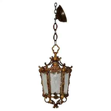 Beautiful pair of Small French Lantern Louis XV style with etch glass