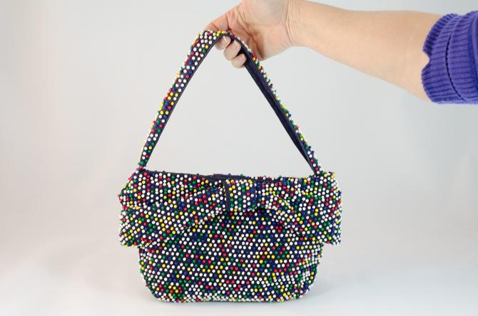 1930s / 1940s Vintage Purse - Navy Blue Base with Multicolored Dotted  Handbag with Wide Bow by DomesticatedPinup