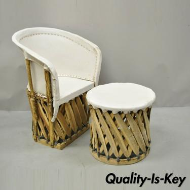 Vintage Mexican Equipale Pigskin White Leather Branch Club Chair & Table Stool
