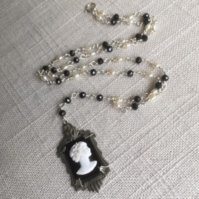 The Silent Siren [assemblage necklace: vintage glass cameo, spinel, freshwater pearl, sterling silver] by nonasuch