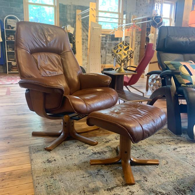 Danish Leather Recliner & Ottoman in Tan