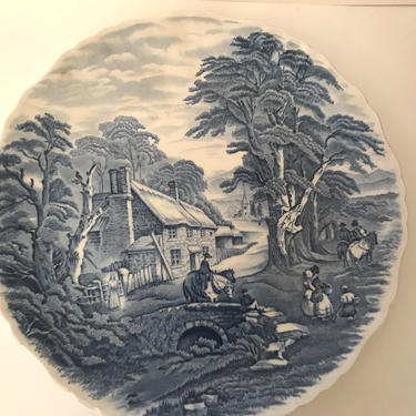 """Vintage James Kent Staffordshire England OLD FOLEY Blue & White Plate 10 1/2""""  Mint Condition - 10.5- England by JoAnntiques"""