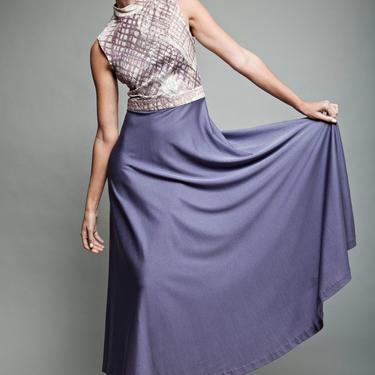 maxi dress purple, sleeveless dress, metallic dress, vintage 70s party gown shimmer sleeveless metallic silver slinky soft M - Medium by shoprabbithole