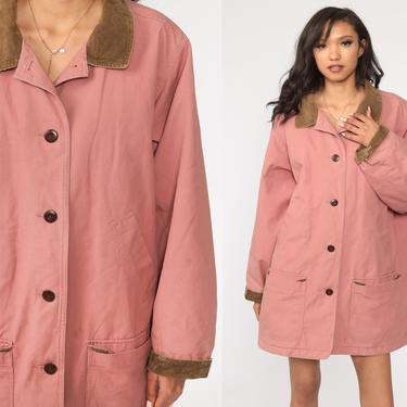 LL Bean Jacket Y2k Jacket Cotton CORDUROY COLLAR Grunge 2000s Retro Trench Coat Pink Normcore Hipster Vintage  Extra Large xl by ShopExile