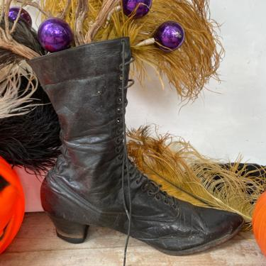 Antique Witch's Boot, Authentic Black Leather Victorian Boot, Halloween Centerpiece, Vintage Halloween Decor, Shoe Display, Left Boot Only by luckduck