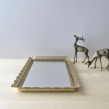 vintage vanity tray - golden brass rectangular fancy gold frame - new mirror glass by ionesAttic