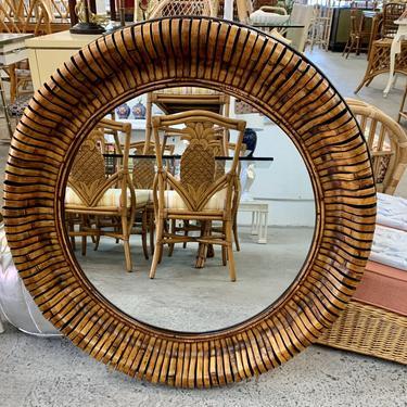 Island Chic Round Rattan Mirror