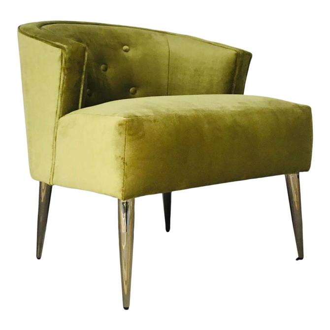 Caracole Mod Style Chartreuse Velvet Accent Chair