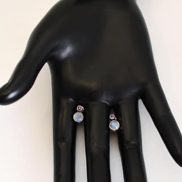 Vintage Nicky Butler blue flash moonstone amethyst sterling studs, NB India 925 silver gemstones modern geometric designer bling earrings by BetseysBeauties