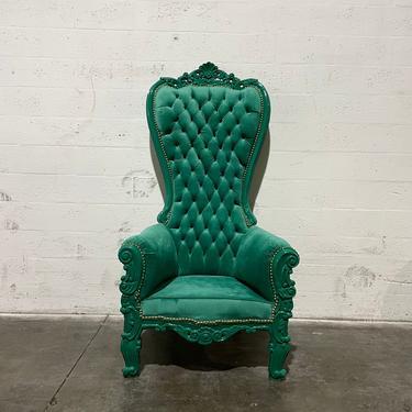 Green Throne Chair Green Velvet Chair *1 LEFT* French Chair Throne Green Velvet Chair Tufted Gold Throne Chair Rococo Vintage Chair by SittinPrettyByMyleen