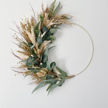 Fall Grasses Wreath, Boho Neutral Coastal Wreath, Earthy Coastal Grasses Wreath, Pampas Grass and Eucalyptus Neutral Wreath by NovaWreaths