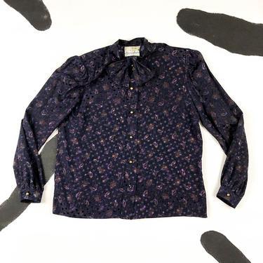 80s Nina Ricci Boutique Floral Paisley SIlk Purple Blouse / Polka Dots / Floral / Allover Print / Bowtie Neck / Elizabeth Arden NY / L / 42 by shoptrashdotnet