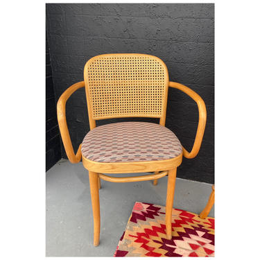 Thonet Cane & Bentwood Arm Chair with Diamond Upholstery