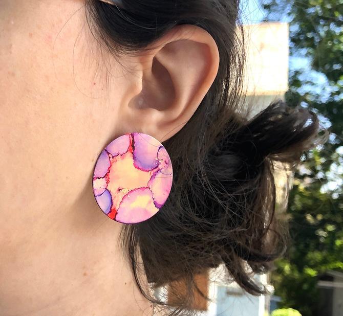 Pink and Purple Painted Disc Studs Handmade Ear Paintings by RachelPfefferDesigns