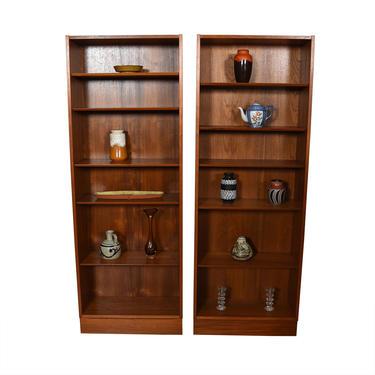 Pair of Tall Teak Bookcases w\/ Adjustable Shelves