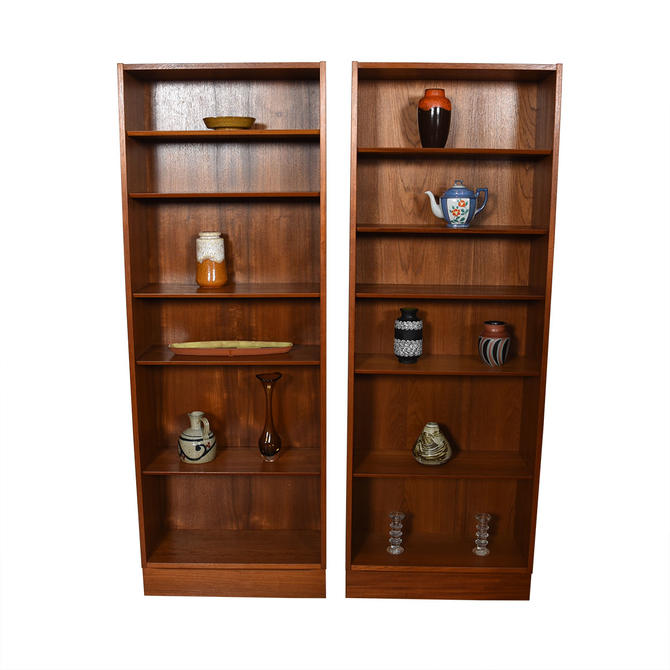 Pair of Tall Teak Bookcases w\/ Adjustable Shelves