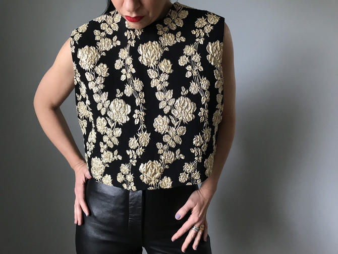 Vintage 60s Button Back Box Cut Shell Top Gold Embroidery by SpeakVintageDC
