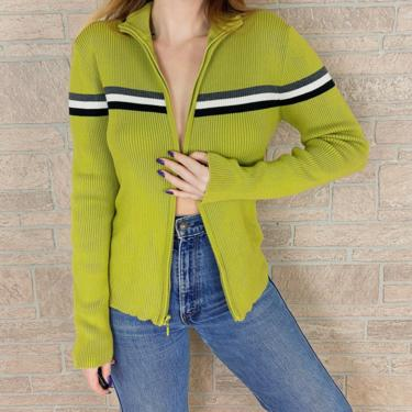 Gap Striped Chartreuse Zip Up Striped Knit Sweater Top by NoteworthyGarments