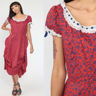 Country Floral Dress 70s Puff Sleeve Full Skirt Midi Peasant Cottagecore Boho Square Dance Dress Orange Vintage Peasant Bohemian Medium by ShopExile