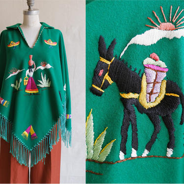 Vintage 50s Embroidered Souvenir Poncho/ 1950s Green Mexican Fringe Jacket/ Cactus Sombrero Zarape Horse by bottleofbread
