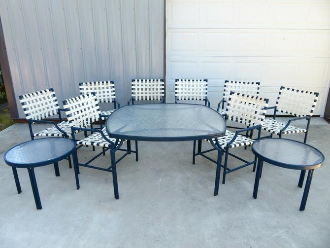 Large BLUE MID CENTURY 11-PIECE PATIO DINING SET by TROPITONE Chairs Side Table