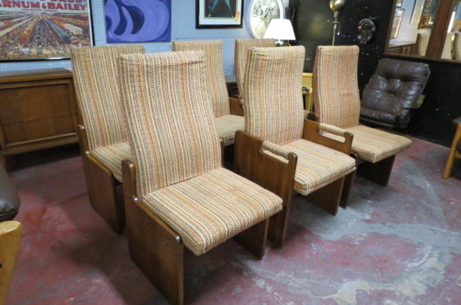 Vintage MCM set of 6 Lane Brutalist dining chairs