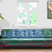 Mid Century Walnut and Velvet/Mohair Sofa (102