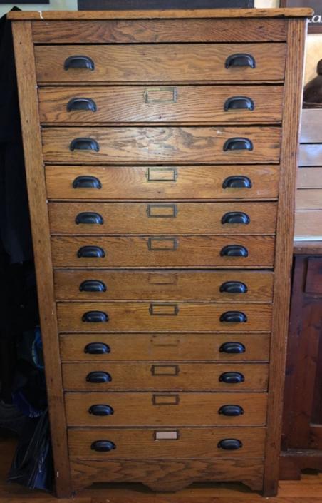 12 Drawer Oak Flat File Cabinet Circa 1900 TallCabinet