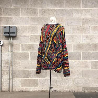 Vintage Coogi Sweater Retro Unisex Size XXL Red + Black Yellow  Blue Green Knit Long Sleeve Crew Neck Pullover Australia Fall Winter Fashion by RetrospectVintage215
