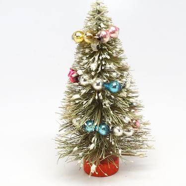 Vintage 1950's Sisal Bottle Brush Christmas Tree, Mercury Glass Beads Ornaments Garland, Antique Decor by exploremag