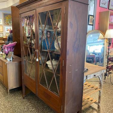 "Glass front mahogany inlay vintage china cabinet, 58"" x 15.5"" x 77"","
