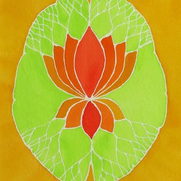 Citrus Lotus Brain  -  original watercolor painting - neuroscience art by artologica