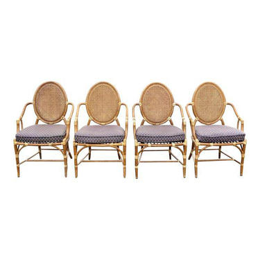 Set of Four Vintage McGuire Palm Beach Rattan Double Cane Back Dining Chairs by VintageLAfurniture