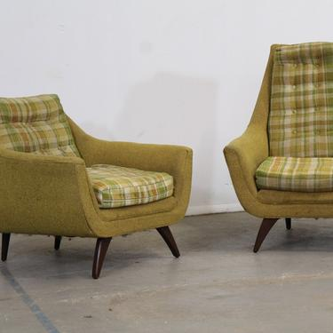 Mid-Century Modern Adrian Pearsall Style His & Her Lounge Chairs by Bassett Arm Chairs by AnnexMarketplace