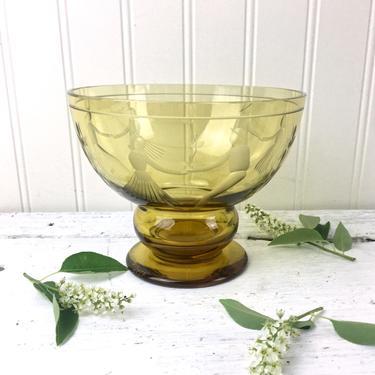 Karhula amber glass couples dancing bowl - design by Gören Hongell - vintage Finnish glass by NextStageVintage
