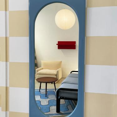 1970s Blue Full Length Wall Mirror