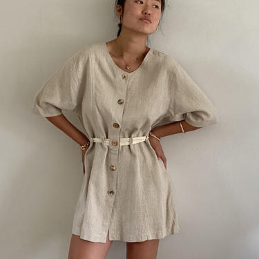 90s linen tunic blouse duster / vintage natural oatmeal linen cinched waist belted short sleeve tunic blouse mini dress duster | M by RecapVintageStudio