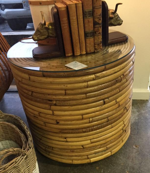 SOLD - Vintage Bamboo Bloomingdales Round table w/ glass