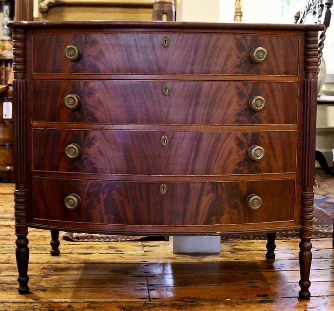 Sheraton Bow Front 4 Drawer Chest in Mahogany, 19th Century